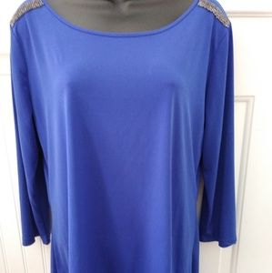 Royal blue silky top with sequins on shouders